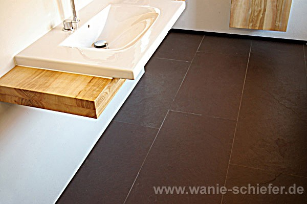 ... Bad Schieferboden Purple · Waschbecken Holz Boden Schiefer ...